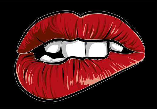 sexy woman cartoon mounth with red lips