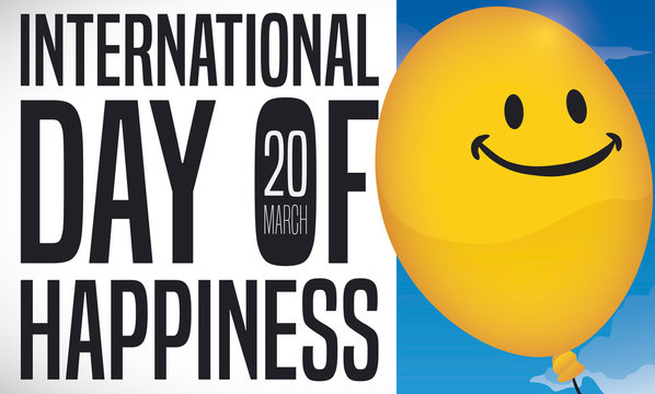 Smiling Balloon Ready to Celebrate International Day of Happiness, Vector Illustration