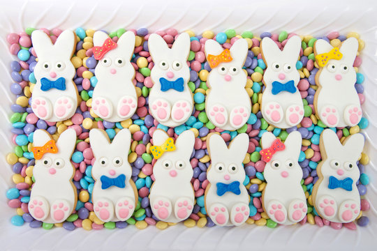 Easter bunny cookies, boys and girls alternating laying on candy coated chocolates on a white rectangular plate. Spring colors. Home made original design.