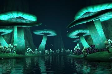 Fototapeta Tall glowing mushrooms along a lake with fireflies, fantasy backdrop / background, 3d render. obraz