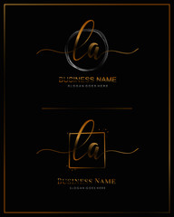 Initial L A LA handwriting logo vector. Letter handwritten logo template.