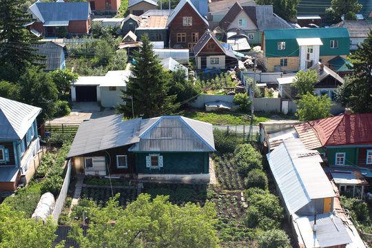 Russia Siberian cottages in the village rural development private property territory land