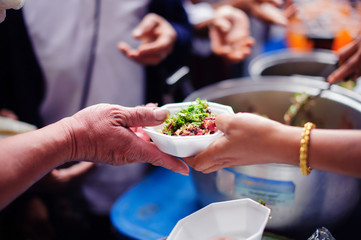 Helping to alleviate hunger from the humanitarian of people in society: concepts food sharing