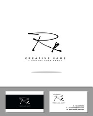 R RR initial handwriting logo template vector.  signature logo concept