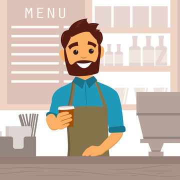 Barista giving coffee to go in a cafe interior. Design of coffee shop, coffee bar. Vector illustration in flat style