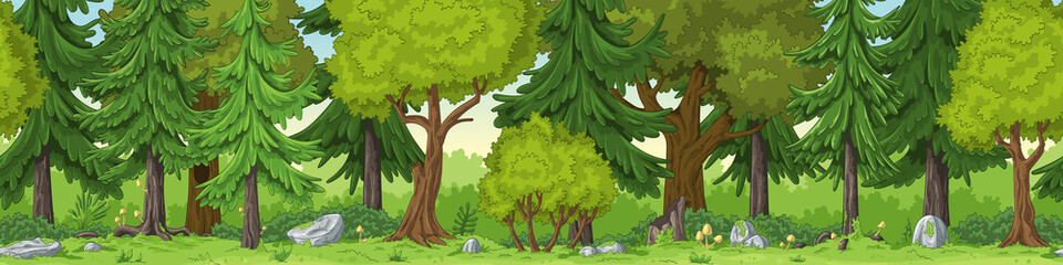 Seamless forest summer landscape with separate layers.