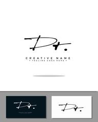 D T DT initial handwriting logo template vector.  signature logo concept