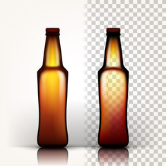 Beer Bottle Vector. Empty Glass For Craft Beer. Mockup Blank Template. Brown. 3D Transparent Isolated Realistic Illustration