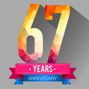 67 Years Anniversary logo. with colorful polygonal design elements.