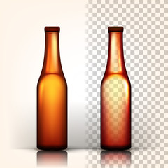 Beer Bottle Vector. Oktoberfest Brew. Alcoholic Sign. Brown. 3D Transparent Isolated Realistic Illustration