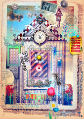 Foto op Aluminium Imagination Enchanted and fairytales landscape with strange door and window
