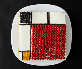 colorful rectangles; mondrian style cake