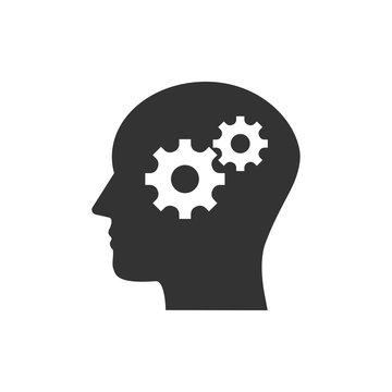 Head, gear, solution idea icon. Vector illustration, flat design.