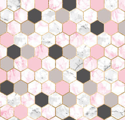 Seamless abstract geometric pattern with gold lines, pink and gray marble hexagons