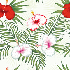 Multicolor hibiscus green leaves seamless white background