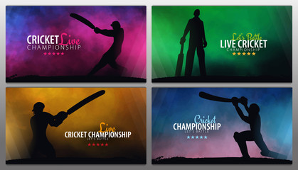 Cricket Championship banner or poster, design with players and bats. Vector illustration.