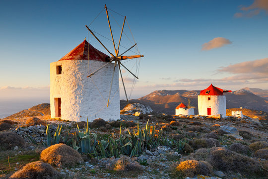 Traditional windmills near Chora village on Amorgos island in Greece.