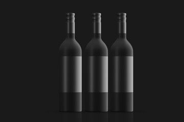 Three frosted glass bottles with black beverage labels. Mock up. 3d rendering