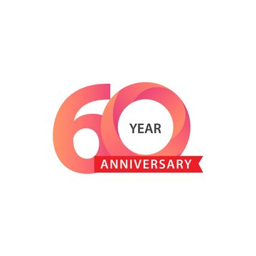 Happy 60th Year Anniversary Vector Template