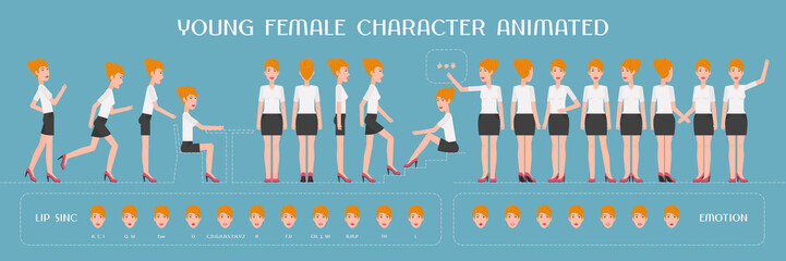 Set of vector elements for woman, girl character creation and animation