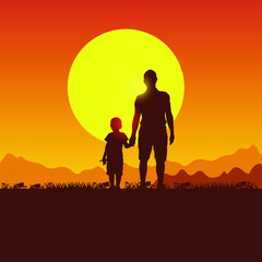 Nature, mountains, hills and sunset. Father and son camping. Silhouette of people on the sun background. Spring family picnic trip. Summer travel with a child.