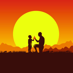 Concept of spring family picnic trip. Summer travel with a child. Father and son camping. Silhouette of people on the sun background. Nature, mountains, hills and sunset.