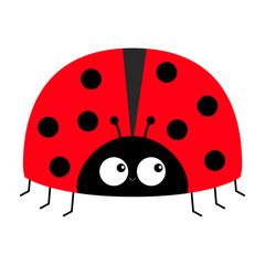 Lady bug ladybird insect icon print. Love greeting card. Cute cartoon kawaii funny baby character. Happy Valentines Day. Flat design. White background.