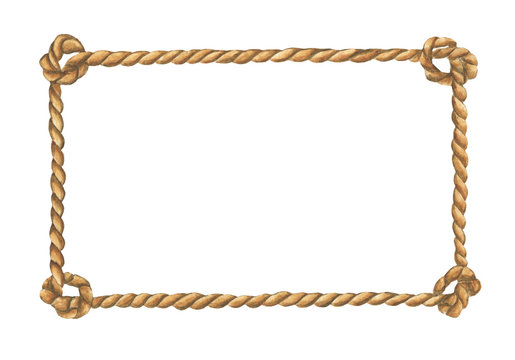 Watercolor painting of Brown rope frame with knots isolated on white background.