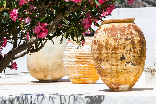 Old ceramic vessels in Apollonia village on Sifnos island in Greece.