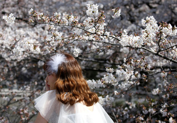 A woman poses for a photograph in front of cherry blossoms in almost full bloom in Tokyo