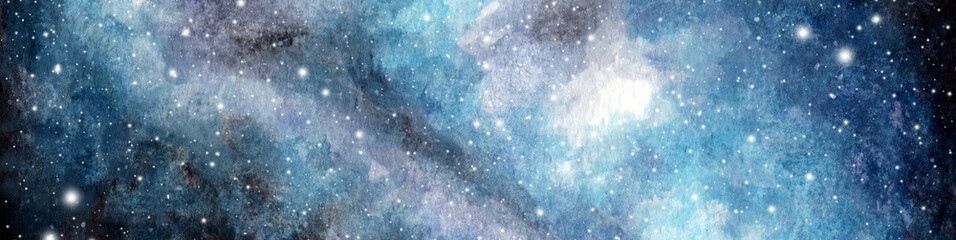 Fototapeta Abstract watercolor galaxy sky background, Cosmic texture. Night sky. Universe filled with stars. fantasy background. obraz