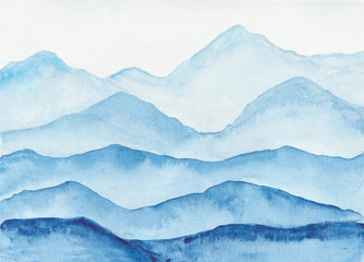 Watercolor mountains landscape.