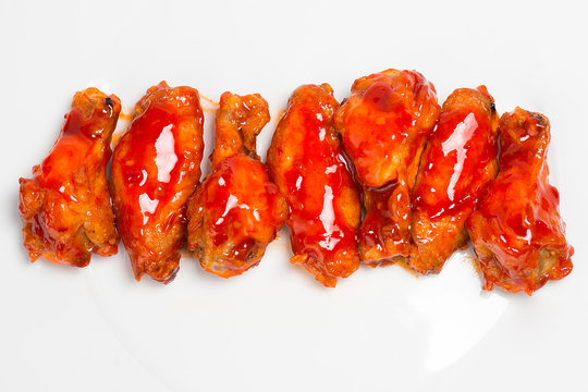 barbecue chicken wings isolated on white background