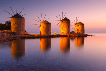 Sunrise image of the iconic windmills in Chios town.