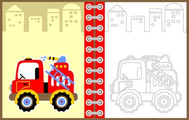 fire truck vector cartoon illustration, coloring page or book