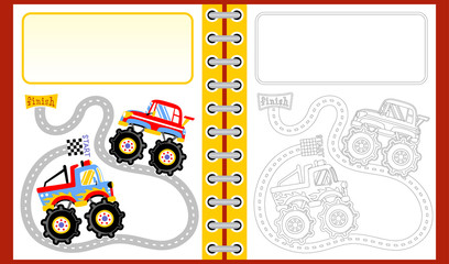 monster truck racing cartoon, coloring book/page