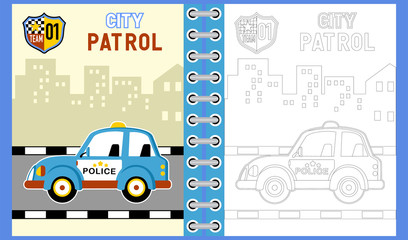 Police car cartoon in the road on building background