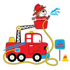 firefighter vector cartoon illustration