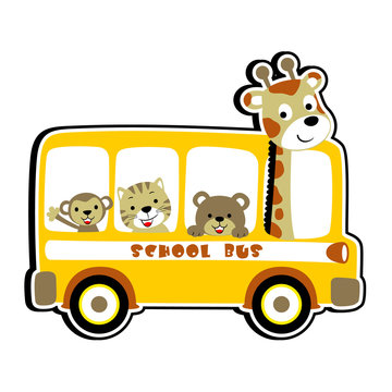 school bus with cute animals, vector cartoon illustration