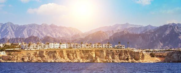 Red Sea coastline in Sharm El Sheikh, Egypt, Sinai. Panoramic view Wall mural