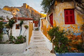 Anafiotika neighborhood and Acropolis in the old town of Athens, Greece.