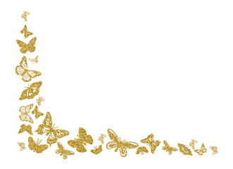 Golden glitter butterfly silhouettes kite texture in corner on white. Elegant butterflies hover theme vector in gold. Cool insect soar backdrop for invitation, fashion, luxury. Vector illustration.