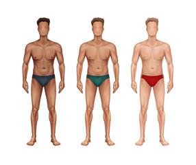 Vector illustration of three standing man with different nationalities and skin types and in underwear on background