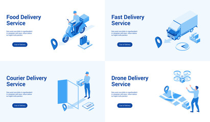 Isometric landing page templates for delivery services. Vector illustration mock-up for website and mobile website