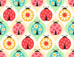 seamless ladybugs cartoon pattern - Vector