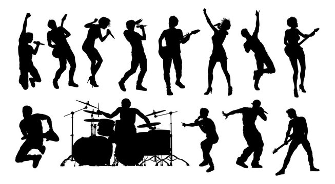High quality silhouettes of musicians in a rock or pop band with singers, drummers, and guitarists