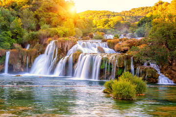 Amazing nature landscape, beautiful waterfall at sunrise, famous Skradinski buk, one of the most...