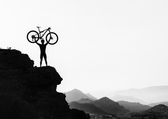 Clyclist at the top of the mountain 3