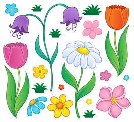 Poster For Kids Spring flowers thematic set 4