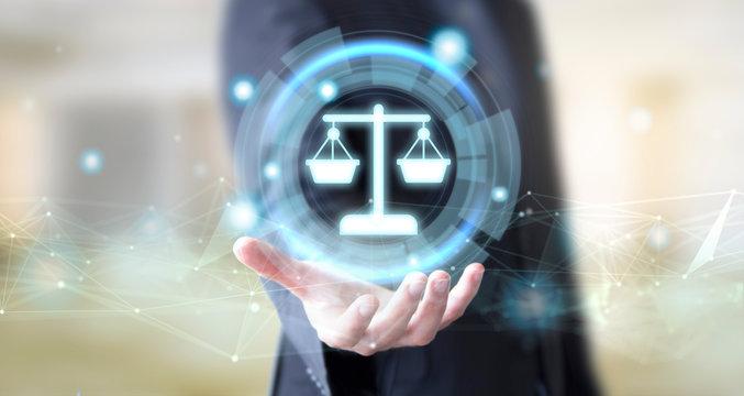 businessman with digital legal advice concept